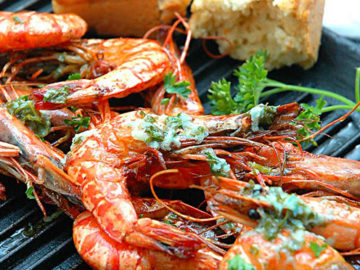 Grilled Prawns with Lemon Butter and Savory Bread