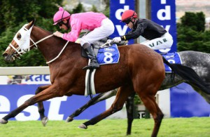 Gunter Wrogemann  keeps Negev going to hold off Ilha Bela in the Listed Syringa Handicap (JC Photos)