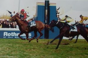 Piere wins the 1996 Gr1 Rothmans July on London News (photo: Gold Circle)
